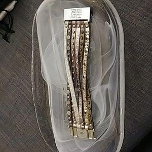 Jewelry - Multi strand leather metal and rhinestone bracelet